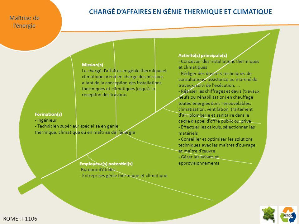 CHARGÉ D'AFFAIRES EN GÉNIE THERMIQUE ET CLIMATIQUE