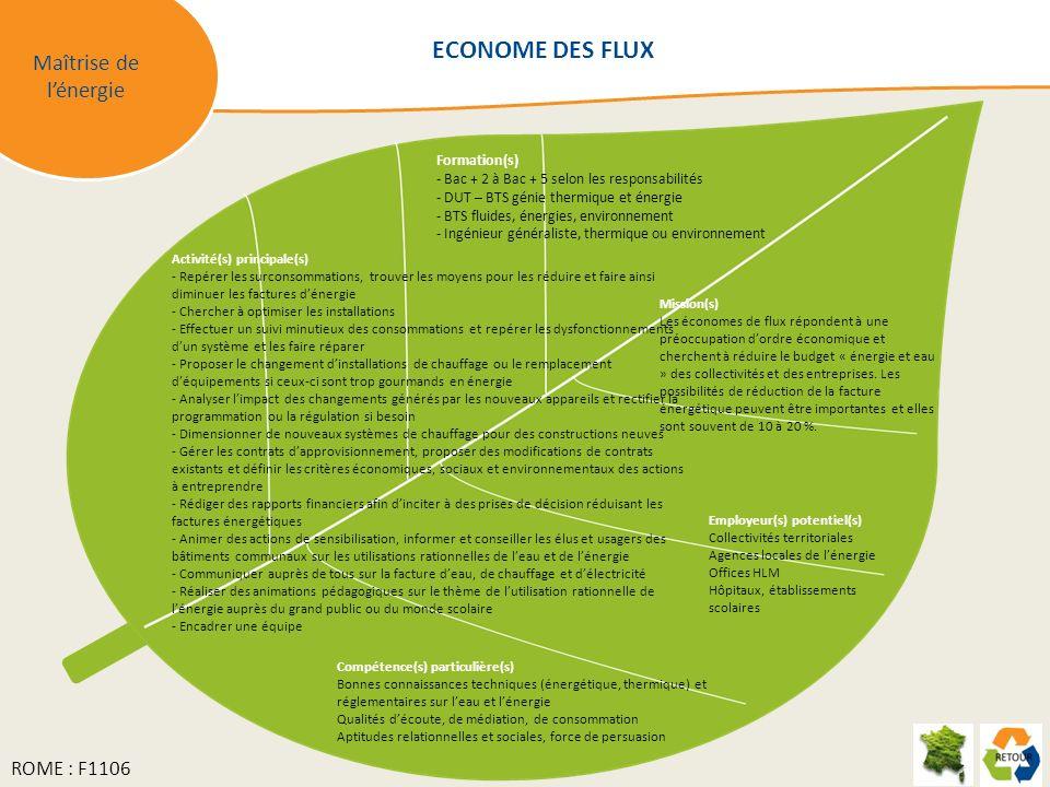 ECONOME DES FLUX Maîtrise de l'énergie ROME : F1106 Formation(s)