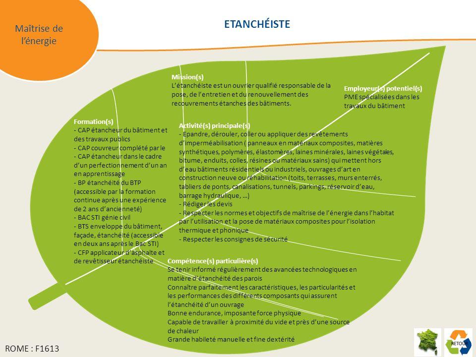 ETANCHÉISTE Maîtrise de l'énergie ROME : F1613 Mission(s)