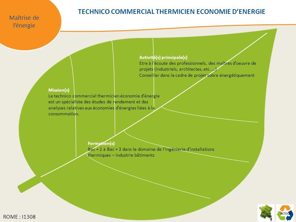 TECHNICO COMMERCIAL THERMICIEN ECONOMIE D'ENERGIE