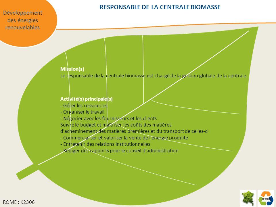 RESPONSABLE DE LA CENTRALE BIOMASSE