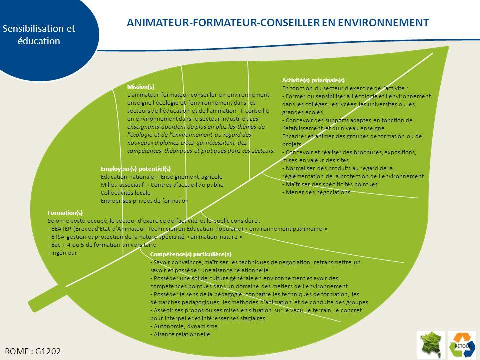 ANIMATEUR-FORMATEUR-CONSEILLER EN ENVIRONNEMENT