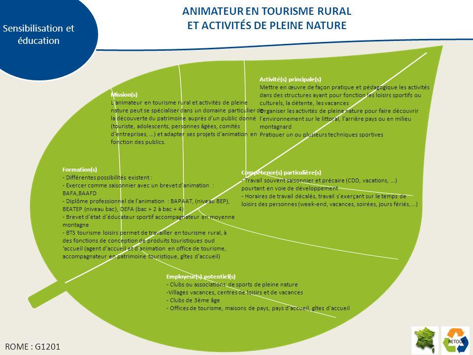 ANIMATEUR EN TOURISME RURAL ET ACTIVITÉS DE PLEINE NATURE