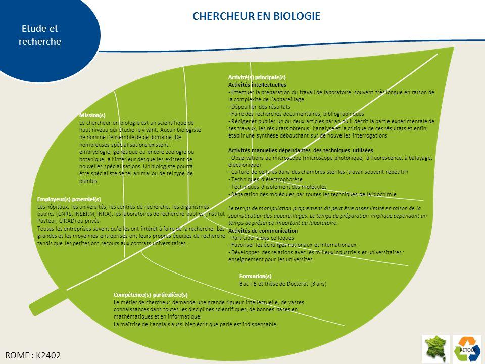 CHERCHEUR EN BIOLOGIE Etude et recherche ROME : K2402