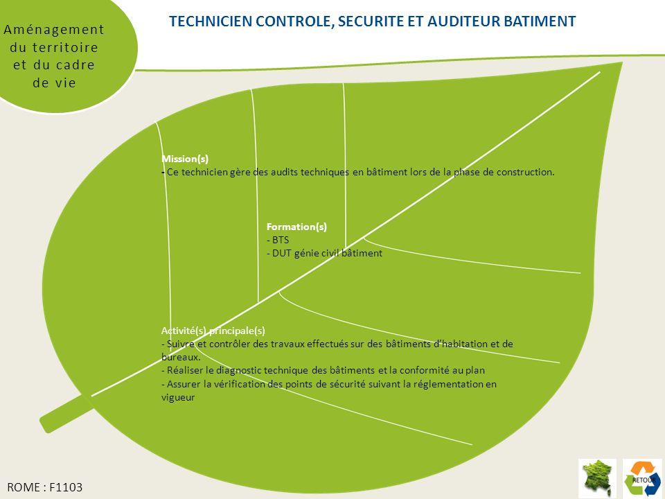 TECHNICIEN CONTROLE, SECURITE ET AUDITEUR BATIMENT