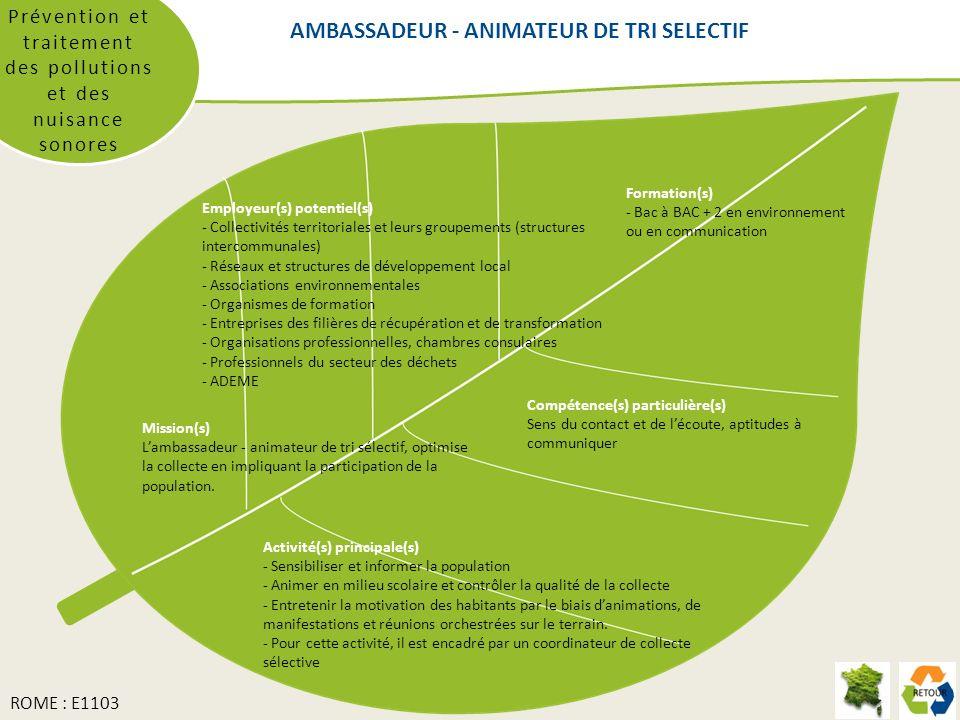AMBASSADEUR - ANIMATEUR DE TRI SELECTIF