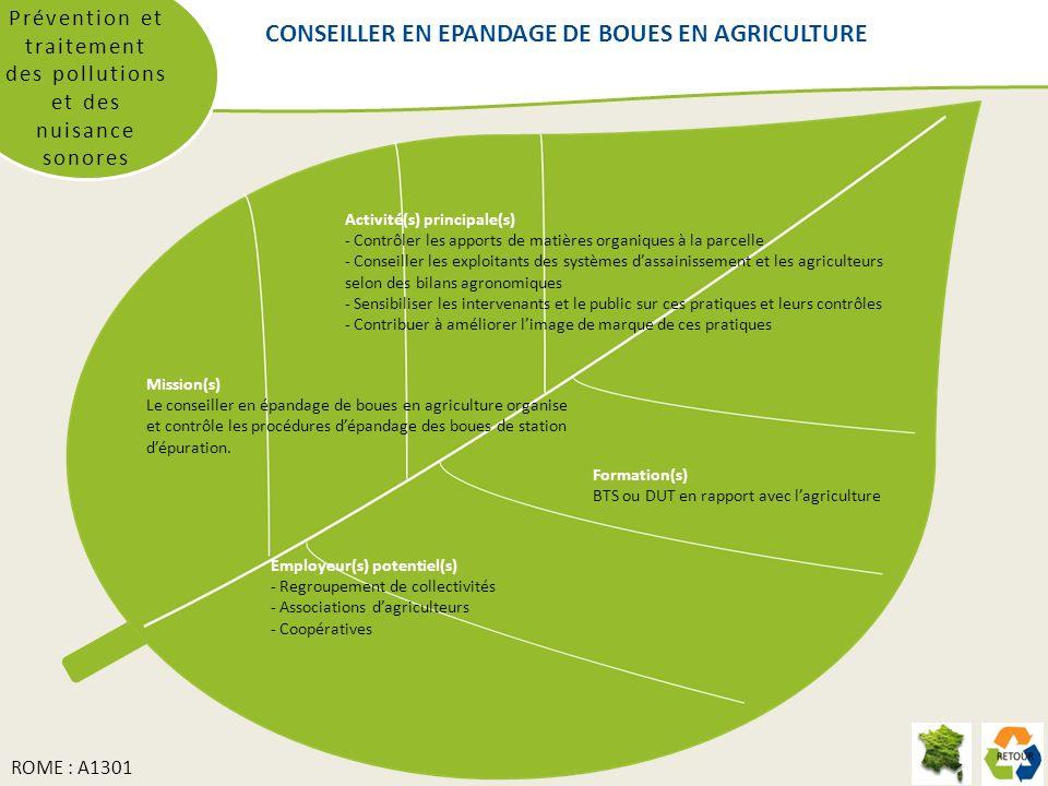 CONSEILLER EN EPANDAGE DE BOUES EN AGRICULTURE