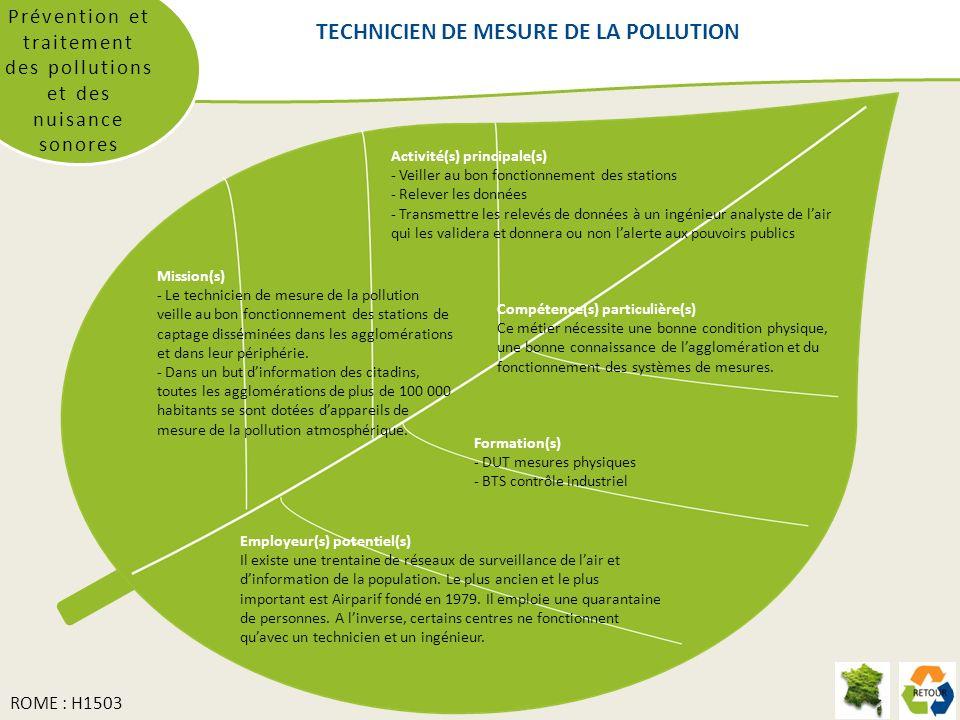 Prévention et traitement des pollutions et des nuisance sonores