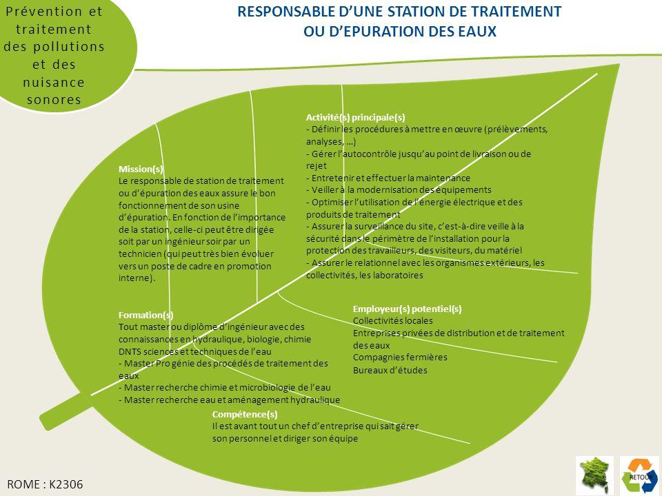 RESPONSABLE D'UNE STATION DE TRAITEMENT OU D'EPURATION DES EAUX