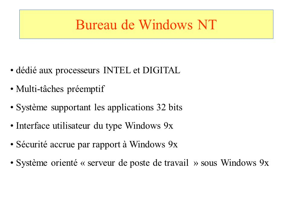 Bureau de Windows NT dédié aux processeurs INTEL et DIGITAL
