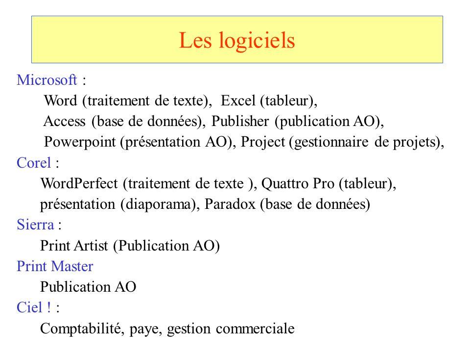 Les logiciels Microsoft : Word (traitement de texte), Excel (tableur),