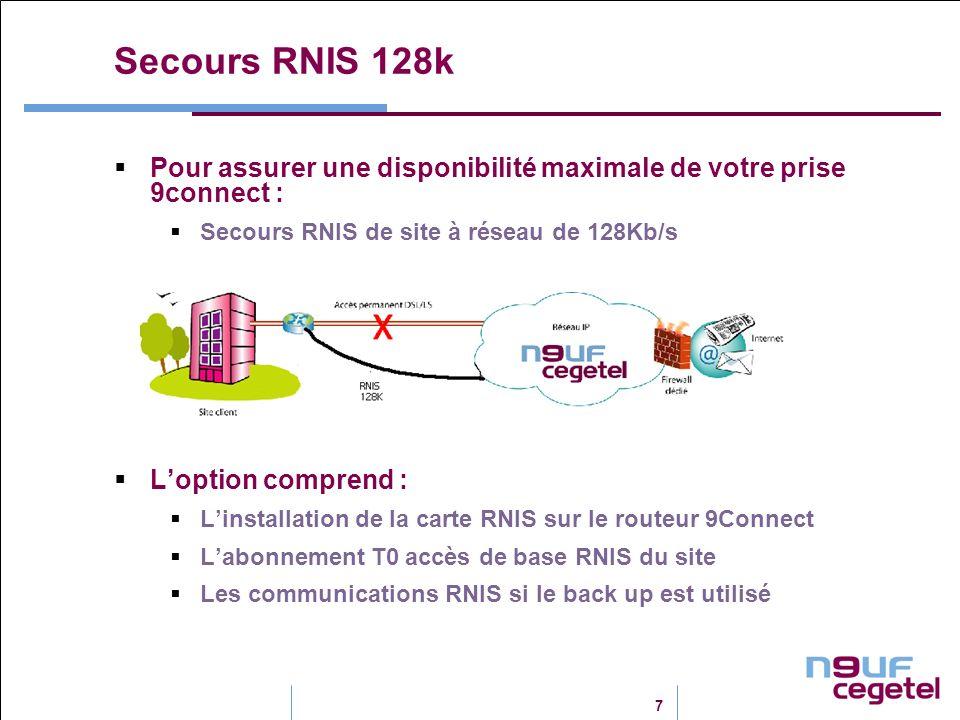 Secours RNIS 128k Pour assurer une disponibilité maximale de votre prise 9connect : Secours RNIS de site à réseau de 128Kb/s.