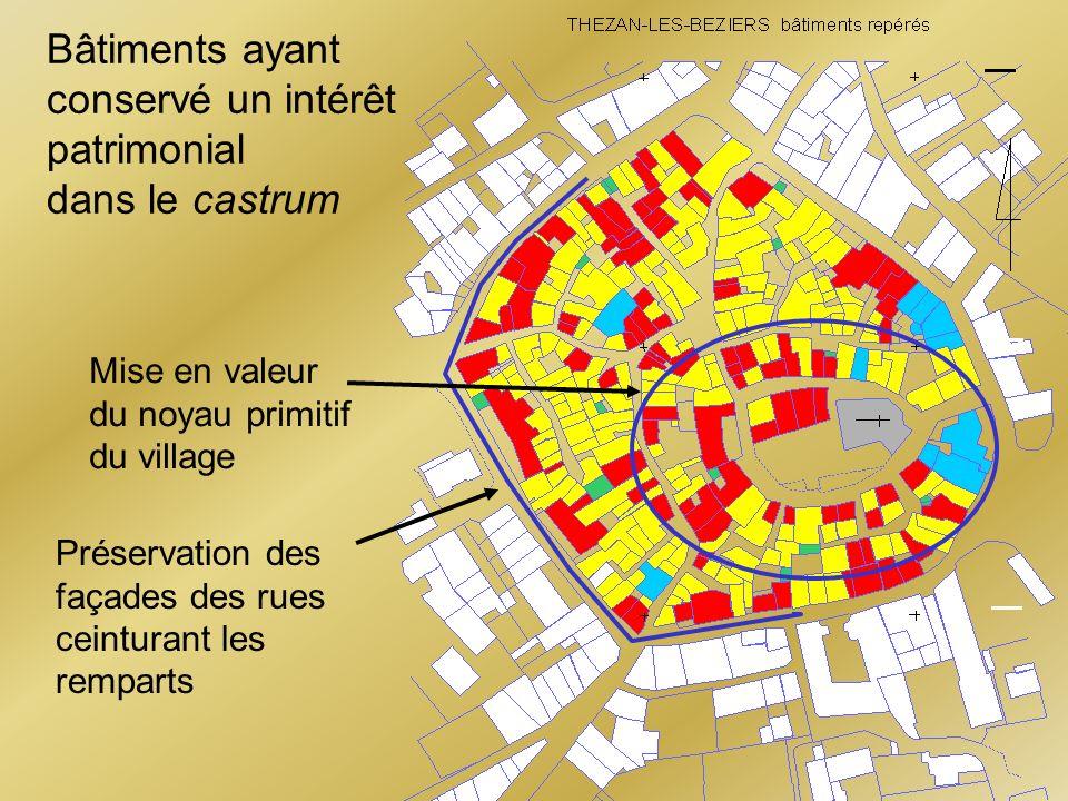 Bâtiments ayant conservé un intérêt patrimonial dans le castrum