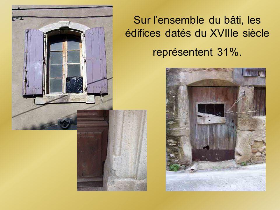 Sur l'ensemble du bâti, les édifices datés du XVIIIe siècle représentent 31%.