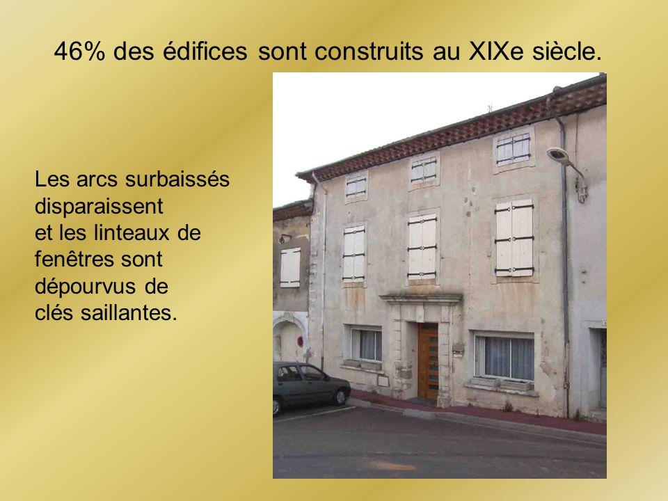 46% des édifices sont construits au XIXe siècle.