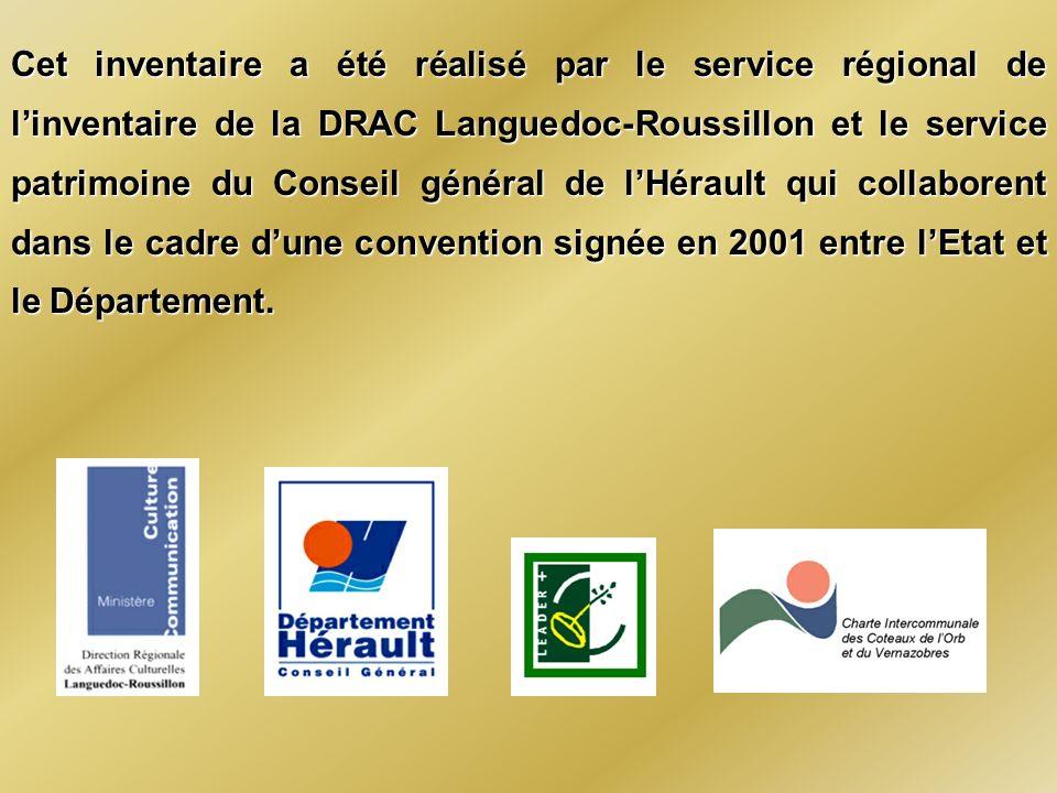 Cet inventaire a été réalisé par le service régional de l'inventaire de la DRAC Languedoc-Roussillon et le service patrimoine du Conseil général de l'Hérault qui collaborent dans le cadre d'une convention signée en 2001 entre l'Etat et le Département.