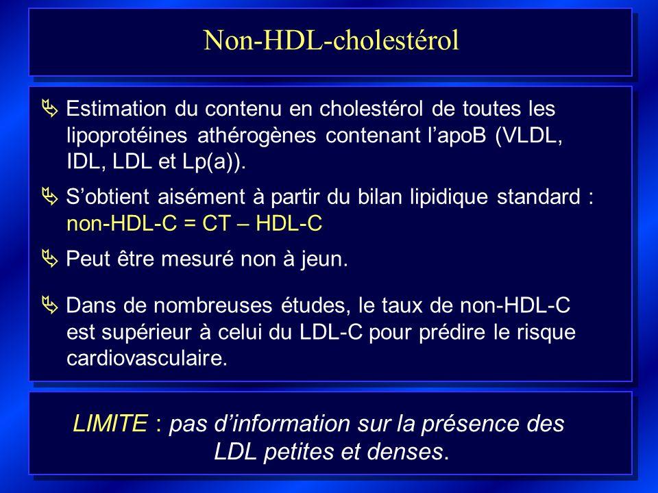 LIMITE : pas d'information sur la présence des LDL petites et denses.