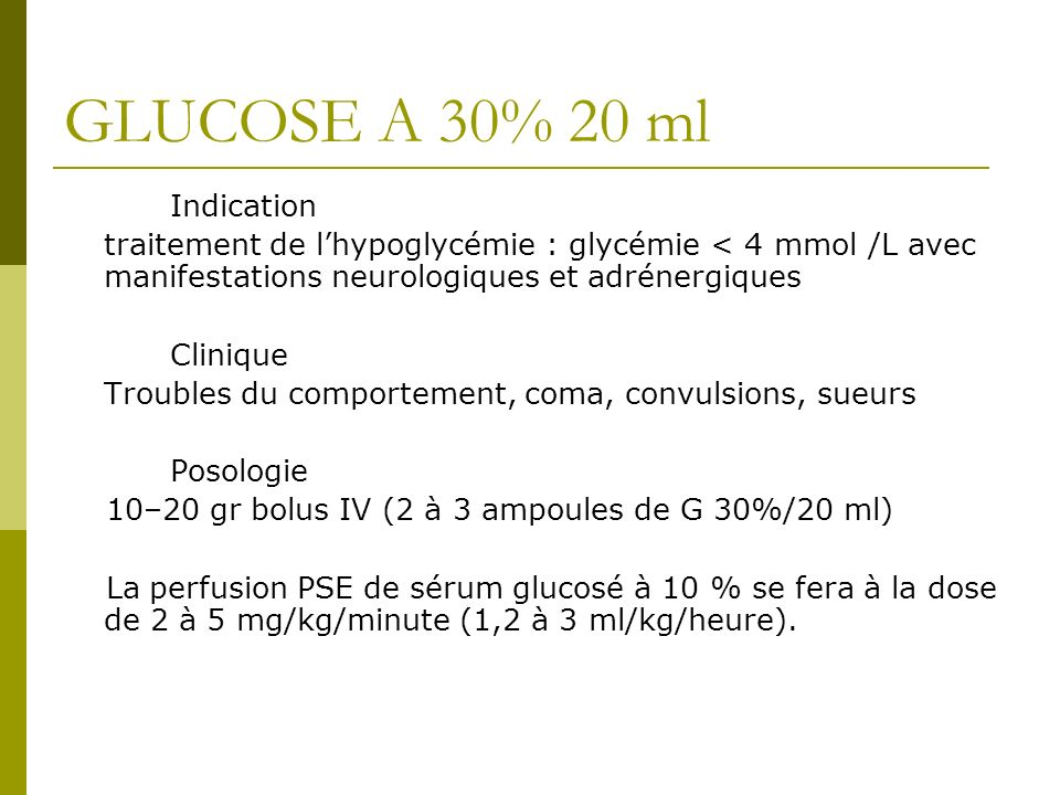 GLUCOSE A 30% 20 ml Indication