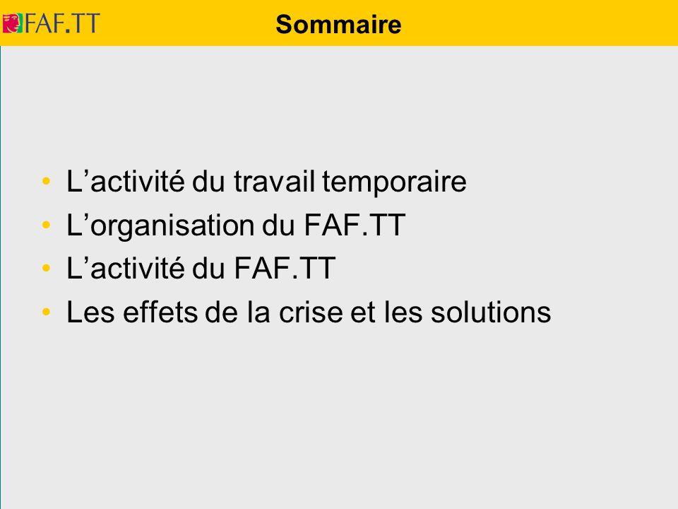 L'activité du travail temporaire L'organisation du FAF.TT
