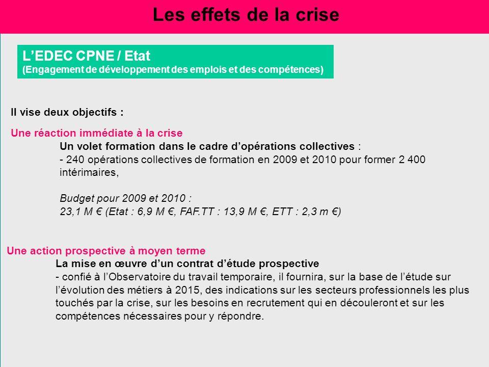 Les effets de la crise L'EDEC CPNE / Etat Il vise deux objectifs :