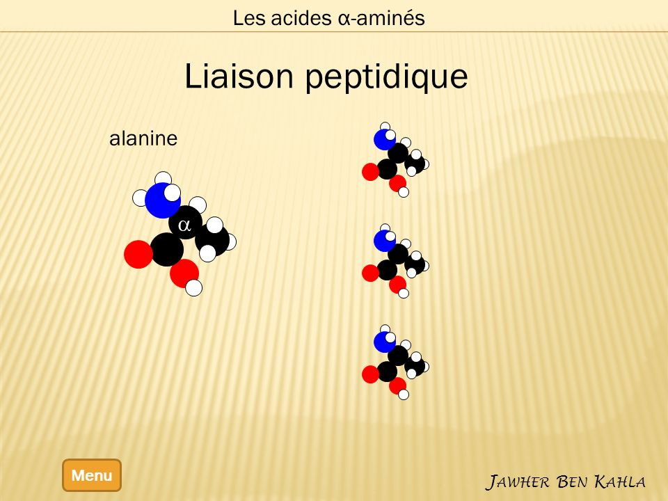 Les acides α-aminés Liaison peptidique alanine a Menu Jawher Ben Kahla
