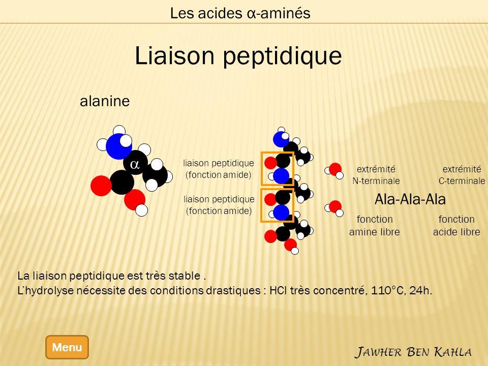 Liaison peptidique Les acides α-aminés alanine a Ala-Ala-Ala
