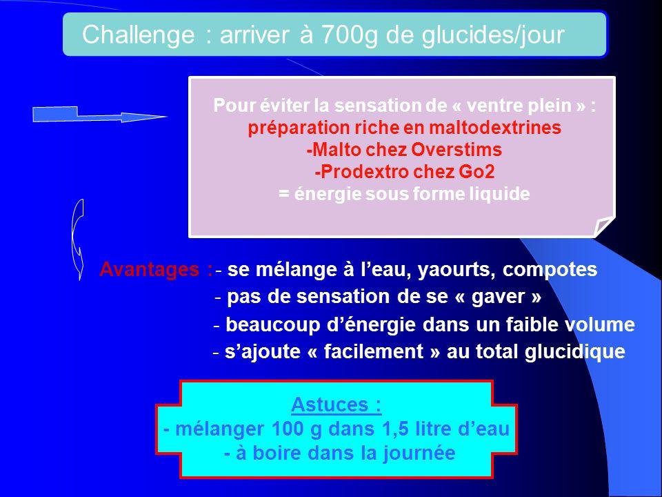 Challenge : arriver à 700g de glucides/jour