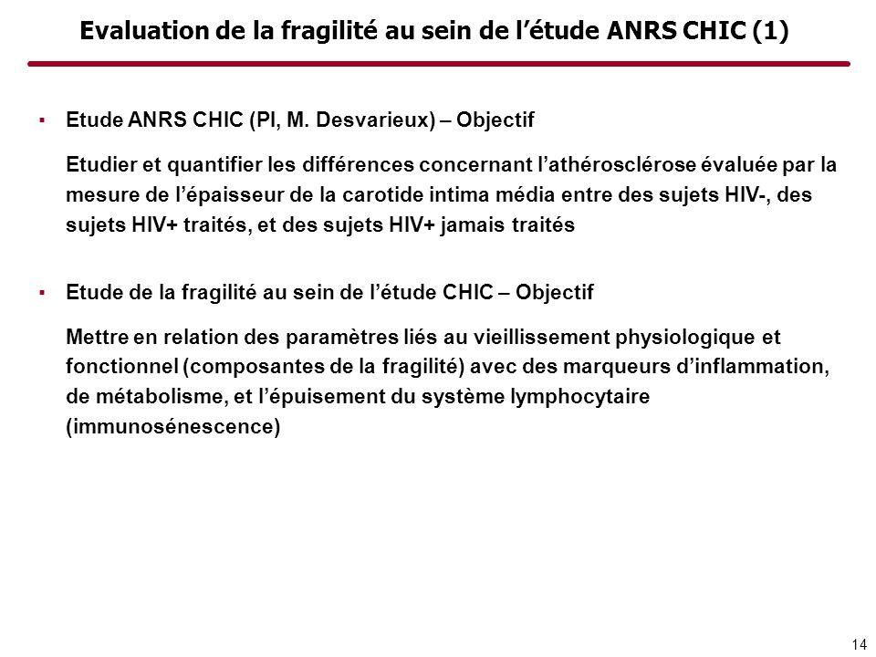 Evaluation de la fragilité au sein de l'étude ANRS CHIC (1)