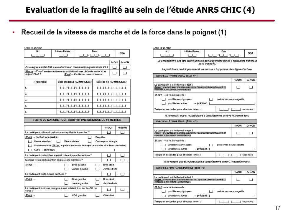 Evaluation de la fragilité au sein de l'étude ANRS CHIC (4)