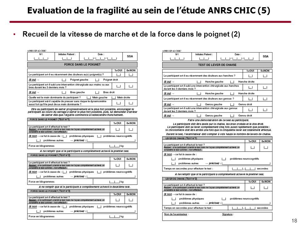 Evaluation de la fragilité au sein de l'étude ANRS CHIC (5)
