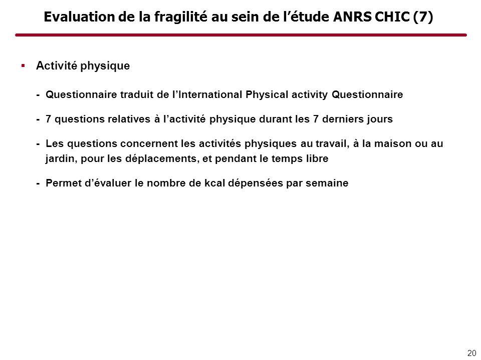 Evaluation de la fragilité au sein de l'étude ANRS CHIC (7)