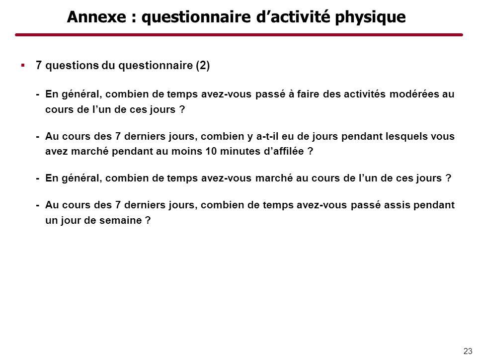 Annexe : questionnaire d'activité physique