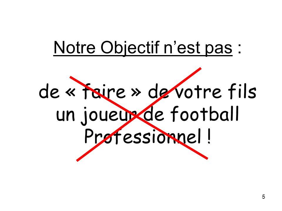 30/03/2017 Notre Objectif n'est pas : de « faire » de votre fils un joueur de football Professionnel !