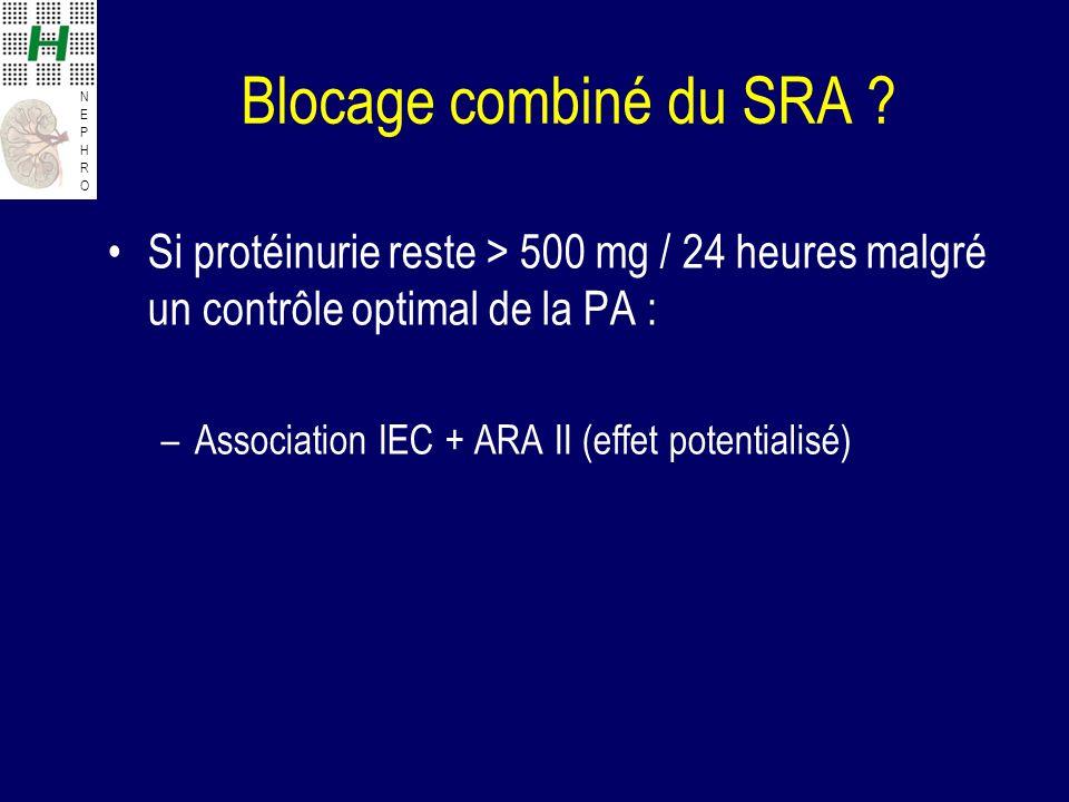 Blocage combiné du SRA Si protéinurie reste > 500 mg / 24 heures malgré un contrôle optimal de la PA :
