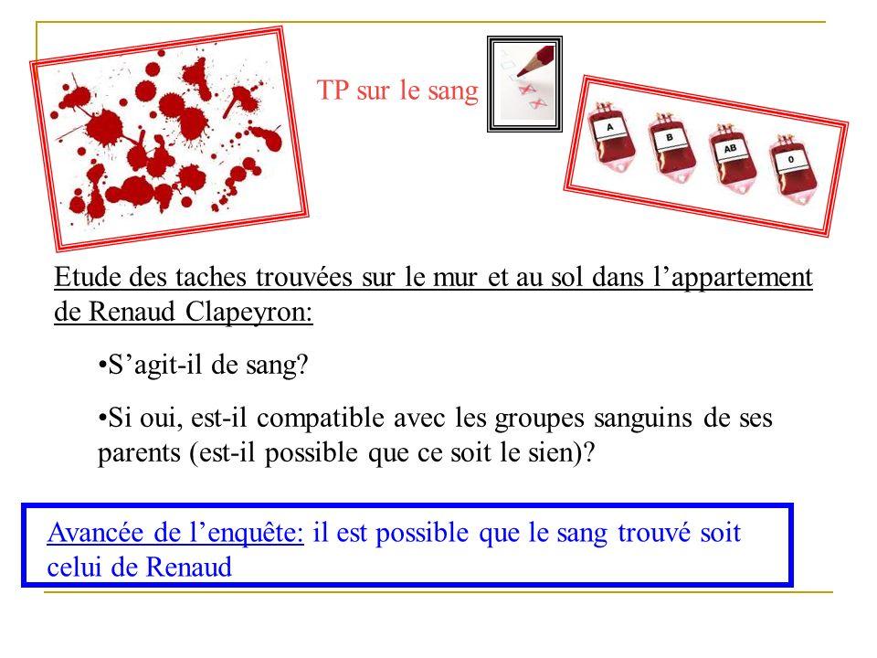 TP sur le sang Etude des taches trouvées sur le mur et au sol dans l'appartement de Renaud Clapeyron: