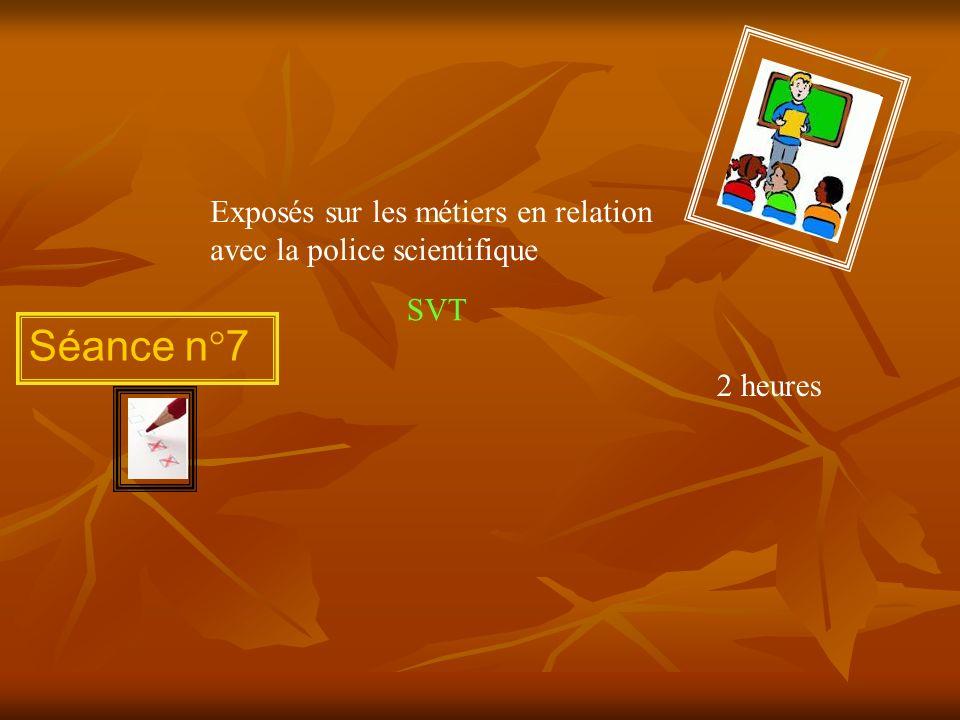 Exposés sur les métiers en relation avec la police scientifique