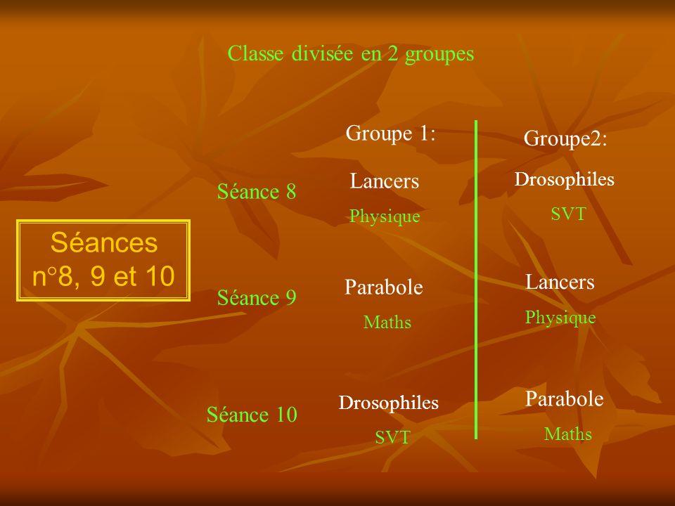 Séances n°8, 9 et 10 Classe divisée en 2 groupes Groupe 1: Groupe2: