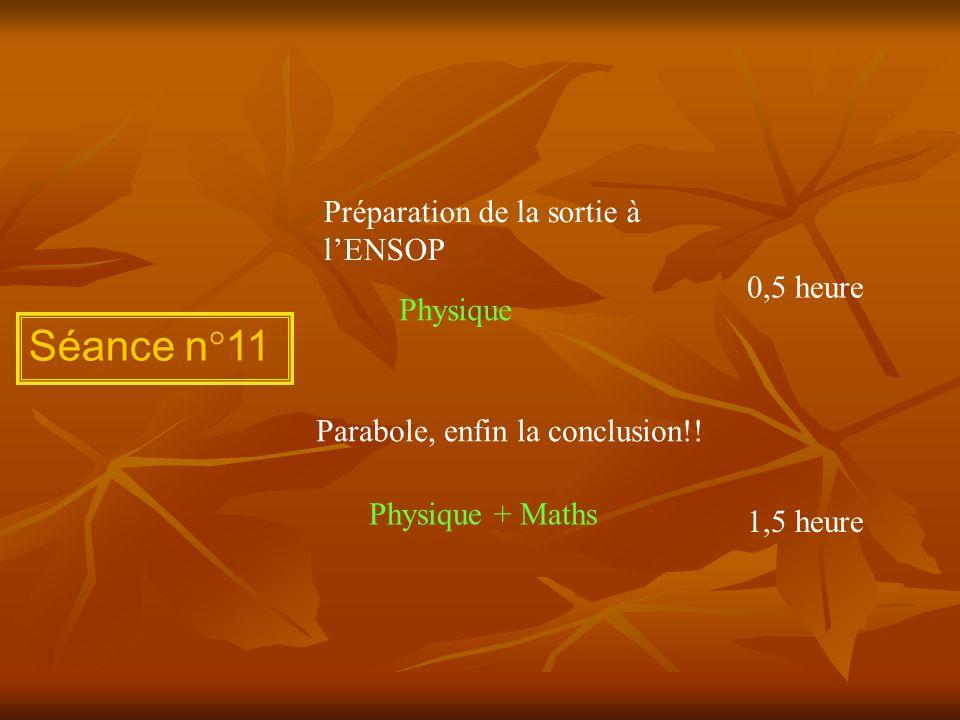Séance n°11 Préparation de la sortie à l'ENSOP 0,5 heure Physique