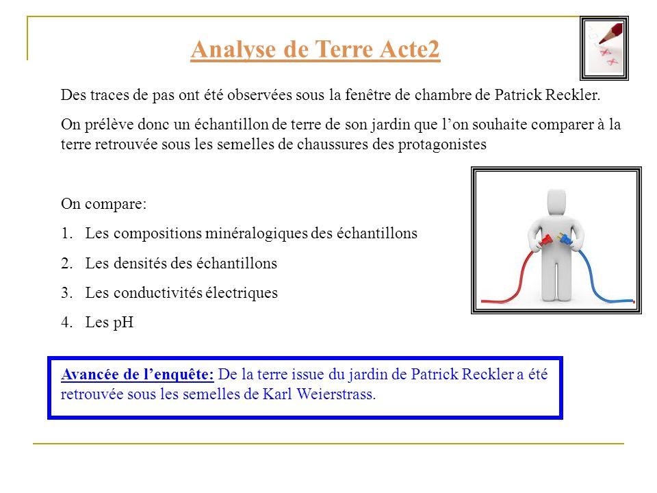 Analyse de Terre Acte2 Des traces de pas ont été observées sous la fenêtre de chambre de Patrick Reckler.