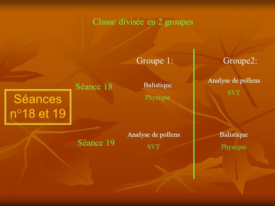 Séances n°18 et 19 Classe divisée en 2 groupes Groupe 1: Groupe2: