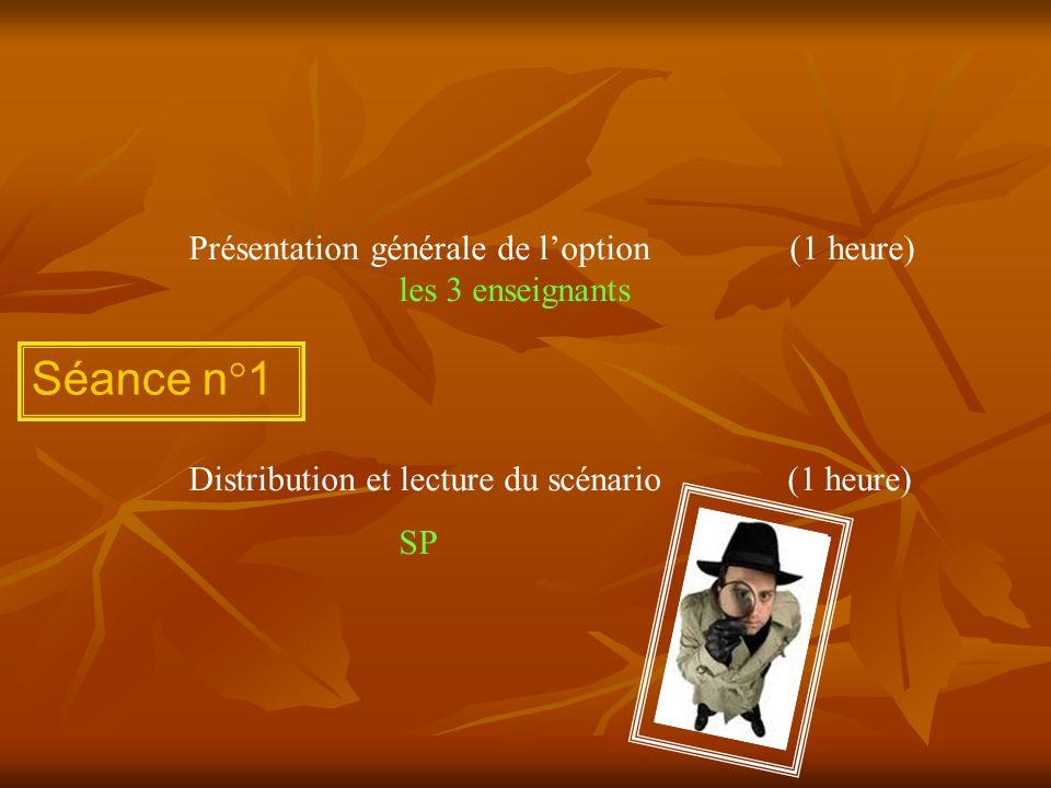 Présentation générale de l'option (1 heure) les 3 enseignants