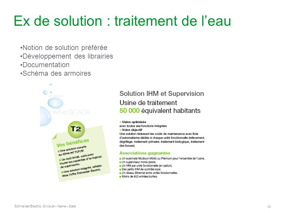 Ex de solution : traitement de l'eau