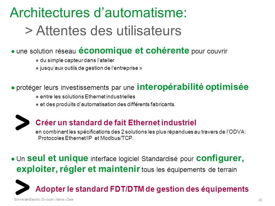 Architectures d'automatisme: > Attentes des utilisateurs
