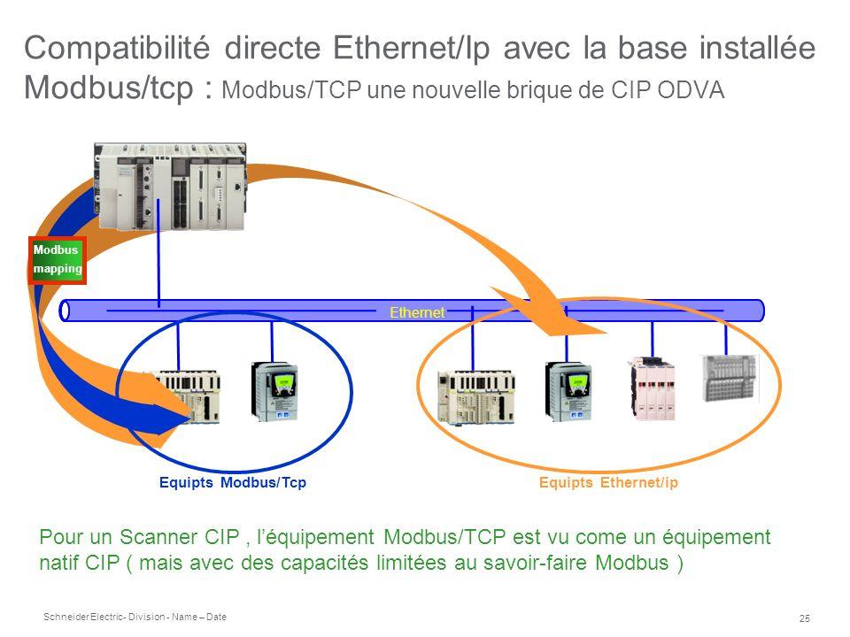 Compatibilité directe Ethernet/Ip avec la base installée Modbus/tcp : Modbus/TCP une nouvelle brique de CIP ODVA
