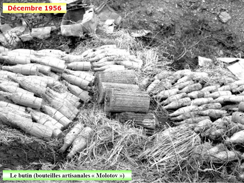 Le butin (bouteilles artisanales « Molotov »)