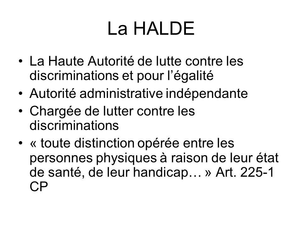 La HALDE La Haute Autorité de lutte contre les discriminations et pour l'égalité. Autorité administrative indépendante.