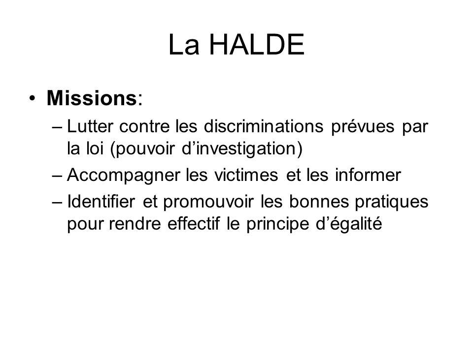 La HALDE Missions: Lutter contre les discriminations prévues par la loi (pouvoir d'investigation) Accompagner les victimes et les informer.