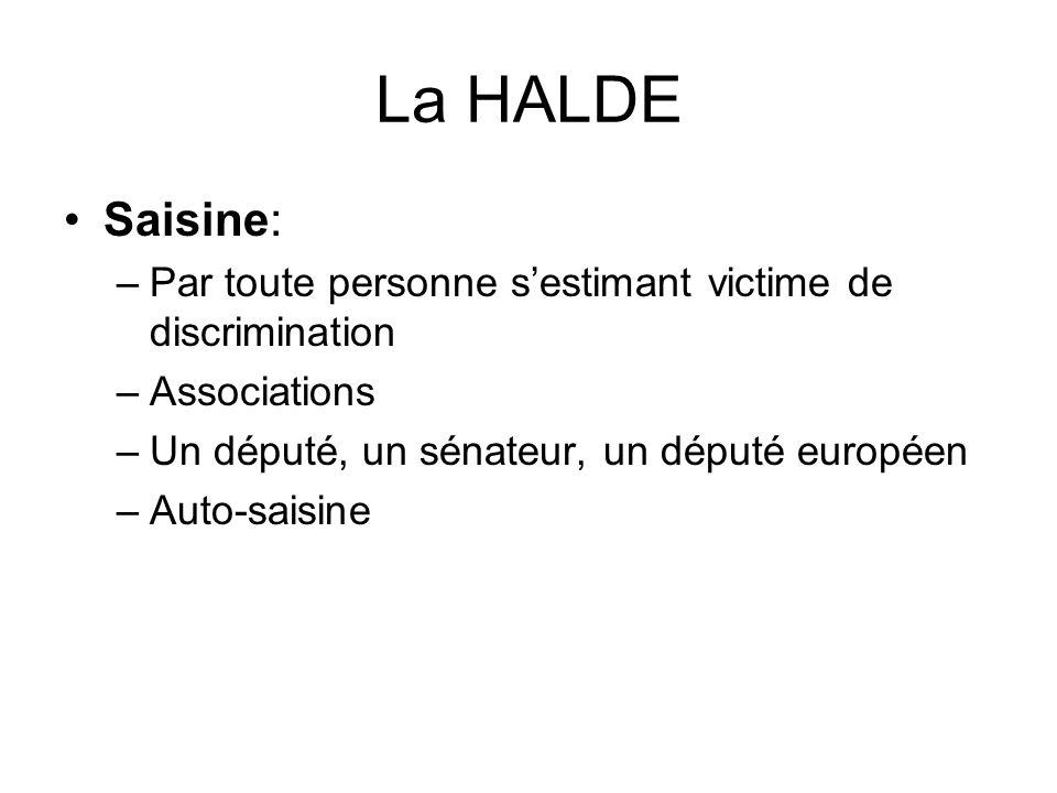 La HALDE Saisine: Par toute personne s'estimant victime de discrimination. Associations. Un député, un sénateur, un député européen.