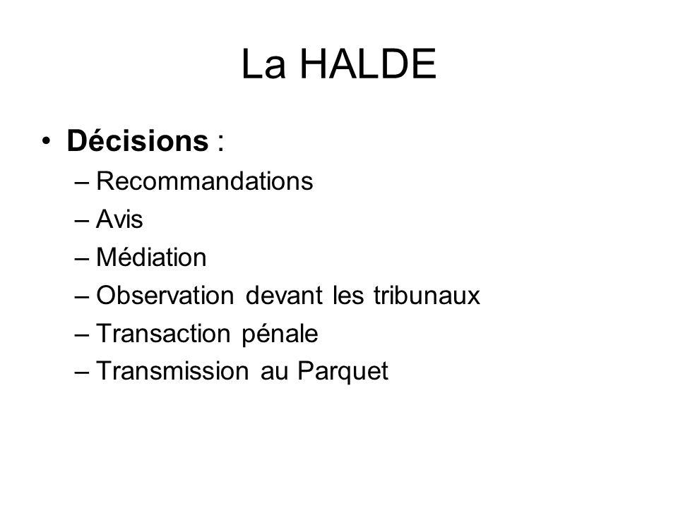 La HALDE Décisions : Recommandations Avis Médiation