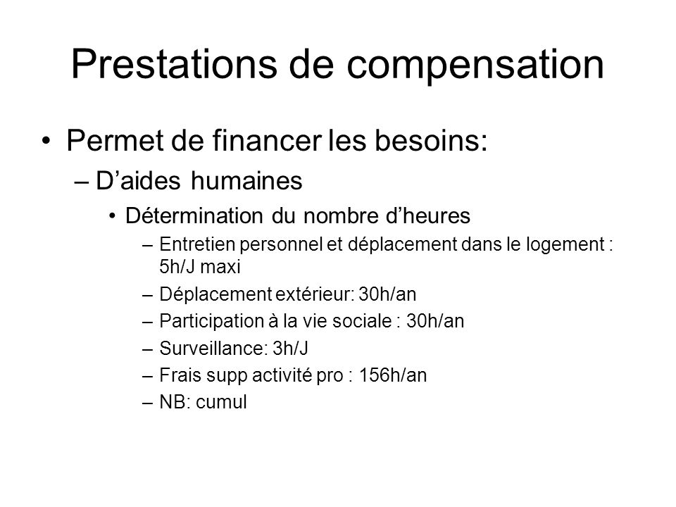 Prestations de compensation